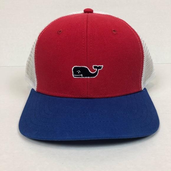 9b3a102546946 Vineyard Vines Trucker Hat Red blue whale LAST ONE